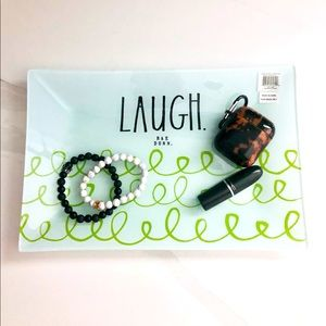Rae Dunn LAUGH glass trinket tray